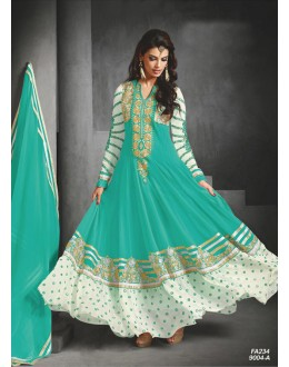 Designer Sky Blue Embroidered Faux Georgette Party Wear Long Anarkali Suit -FA234-9004-A( FFH-FA234 )