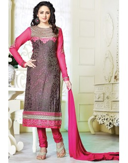 Exclusive New Designer Unstitched Black And Pink Gorgeous Salwar Suits-FA247-3001(FFH-FA247)