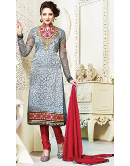 Exclusive New Designer Unstitched Grey And Red Gorgeous Salwar Suits-FA247-3003(FFH-FA247)