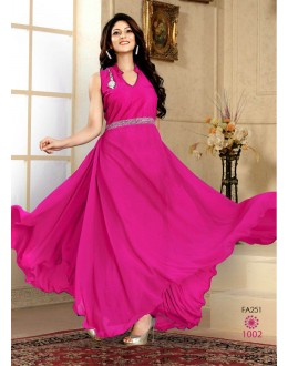 Designer Latest New Arrival Party Wear Pink gown-1002(FFH-FA251)Karishma