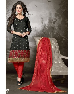 Beautiful Black And Red Designer Unstitched Salwar Suit-FA256-2011(FFH-FA256)