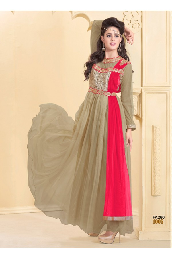 Designer Beige Net Western Embroidered Party Wear Gown-FA260-1005 ( FFH-FA260 )