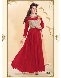 Designer Maroon Net Western Embroidered Party Wear Gown-FA260-1004 ( FFH-FA260 )