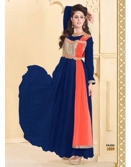 Designer Navy Blue Net Western Embroidered Party Wear Gown-FA260-1009 ( FFH-FA260 )