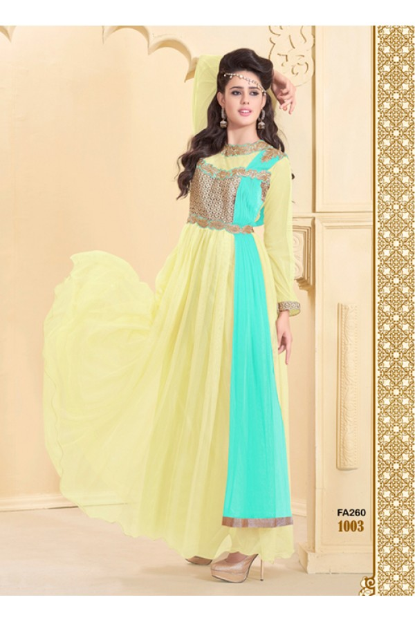 Designer Yellow Net Western Embroidered Party Wear Gown-FA260-1003 ( FFH-FA260 )