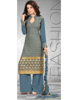New Grey Palazzo Style Designer Unstitched Salwar Suit-FA269-5(FFH-FA269)