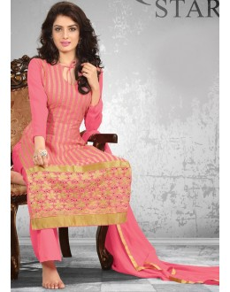 New Pink Palazzo Style Embroidery Unstitched Salwar Suit-FA269-3(FFH-FA269)