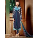 Designer Blue Embroidered Georgette Party Wear Straight Cut Salwar Suit - FA278-2301 ( FFH-FA278 )
