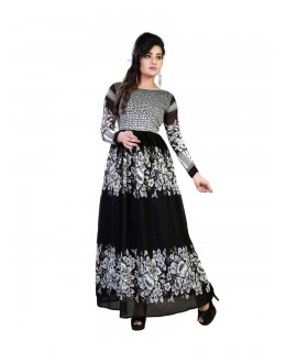 Designer Bhagalpuri Flower Printed Pure Georgette Party Wear Black & White Gown - FA355-002 ( FFH-FA355 )
