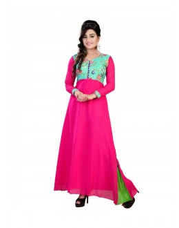 Designer Digital Printed Pure Georgette Party Wear Pink Gown - FA355-007 ( FFH-FA355 )