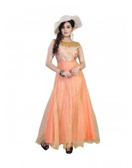 Designer Embroidered Net Party Wear Peach Gown - FA355-005 ( FFH-FA355 )