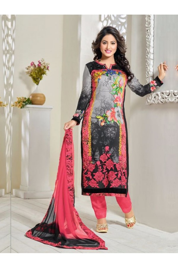 Party Wear Black Georgette Churidar Suit - FA357-81010