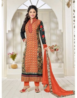 Party Wear Orange Georgette Churidar Suit - FA357-81005