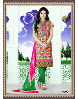 Designer Off-White Embroidered Cotton Unstitched Straight Cut Party Wear Salwar Suit - FD001 ( FFH-FD001 )