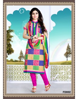 Designer Off-White Embroidered Cotton Unstitched Straight Cut Party Wear Salwar Suit - FD002 ( FFH-FD002 )