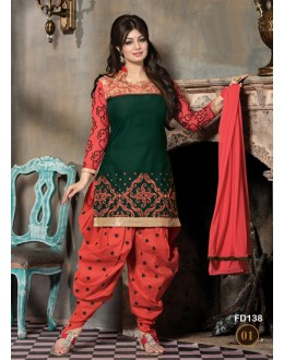 Ayesha Takia Designer Unstitched Green & Red Cotton Embroidered Patiala Suit - FD138-01 ( FFH-FD138 )