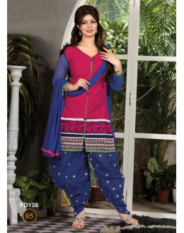 Ayesha Takia Designer Unstitched Magenta & Blue Cotton Embroidered Patiala Suit - FD138-02 ( FFH-FD138 )