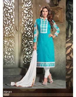 Designer Embroidered Sky Blue Chanderi Cotton Straight Unstitched Party Wear Salwar Suit - FD141-1007 ( FFH-FD141 )