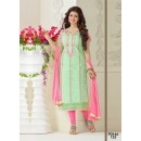 Ayesha Takia Designer Light Green & Pink Embroidered Party Wear Straight Cut Salwar Suit - FD144-123 ( FFH-FD144 )