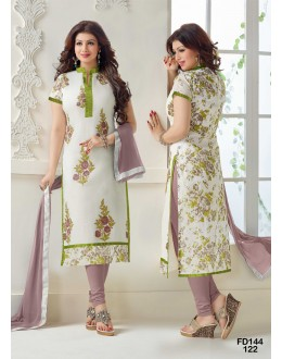 Ayesha Takia Designer White Embroidered Party Wear Straight Cut Salwar Suit - FD144-122 ( FFH-FD144 )