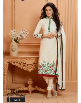 Designer White Chiffon Embroidered Unstitched Party Wear Straight Salwar Suit - FD147-1904 ( FFH-FD147 )