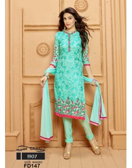 Designer Cyan Chiffon Embroidered Unstitched Party Wear Straight Salwar Suit - FD147-1907 ( FFH-FD147 )