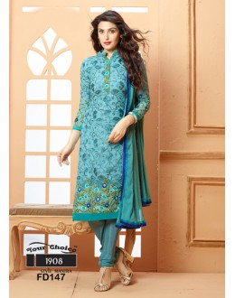 Designer Grey Chiffon Embroidered Unstitched Party Wear Straight Salwar Suit - FD147-1908 ( FFH-FD147 )