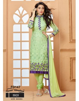 Designer Light Green Chiffon Embroidered Unstitched Party Wear Straight Salwar Suit - FD147-1903 ( FFH-FD147 )