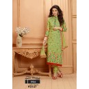 Designer Olive Green Chiffon Embroidered Unstitched Party Wear Straight Salwar Suit - FD147-1906 ( FFH-FD147 )