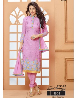 Designer Pink Chiffon Embroidered Unstitched Party Wear Straight Salwar Suit - FD147-1902 ( FFH-FD147 )
