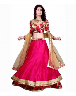 Beautiful Pink Embroidered Banglori Silk Lehenga Choli -  FL116-1013 ( FL116 )