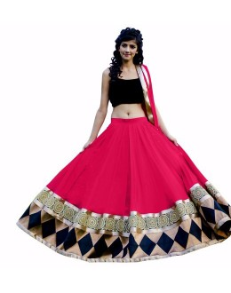 Beautiful Pink Embroidered Georgette Lehenga Choli -  FL116-1012 ( FL116 )