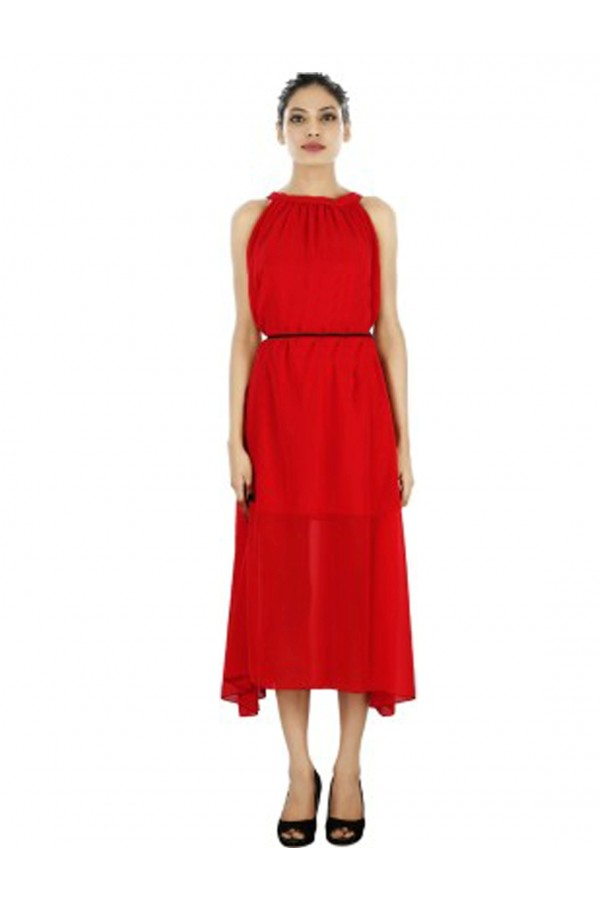 Party Wear Readymade Red Western Wear Dress - Fk109-1502