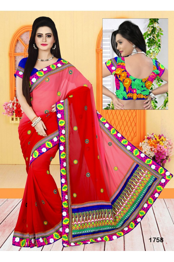 Designer Beautiful Embroidered Red Georgette Party Wear Saree - FS000-1758C ( FFH-FS000 )