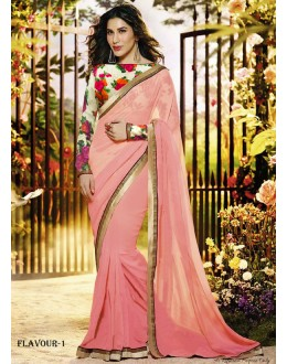 Sophie Designer Light Pink Plain Georgette Party Wear Saree - FS000-Flavour-1 ( FFH-FS000 )