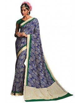 Casual Wear Blue & Green Art Silk Saree  - RKVIKI9345