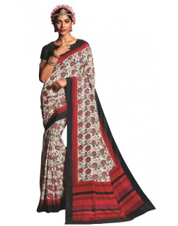 Casual Wear Off White & Black Art Silk Saree  - RKVIKI9347