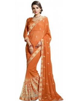 Ethnic Wear Orange Chiffon Saree  - RKAM6104