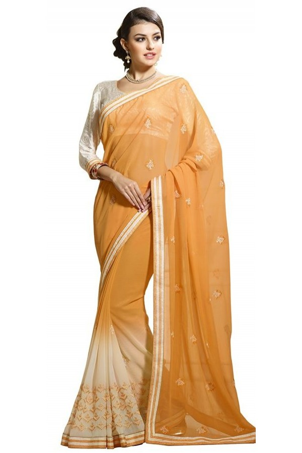 Party Wear Orange & Off White Chiffon Saree  - RKAM6106