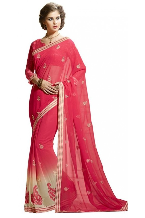 Ethnic Wear Pink Chiffon Saree  - RKAM6109