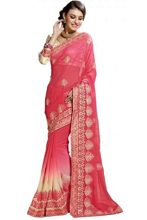 Party Wear Pink & Golden Chiffon Saree  - RKAM6112