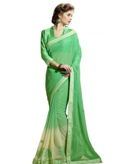 Ethnic Wear Green Chiffon Saree  - RKAM6113