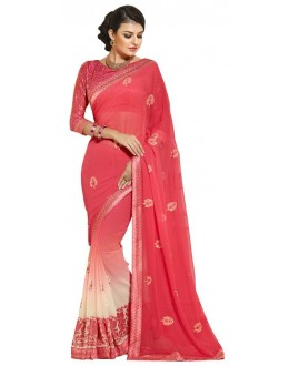 Ethnic Wear Red Chiffon Saree  - RKAM6115