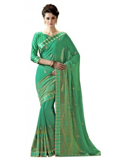 Casual Wear Green Chiffon Saree  - RKAM6116