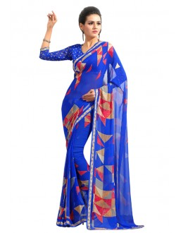 Casual Wear Blue Georgette Saree  - RKAM6552