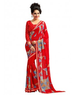 Casual Wear Red Georgette Saree  - RKAM6553