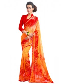 Ethnic Wear Orange Georgette Saree  - RKAM6557