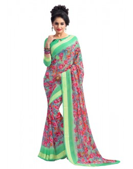 Georgette Multi-Colour Printed Saree  - RKAM6558