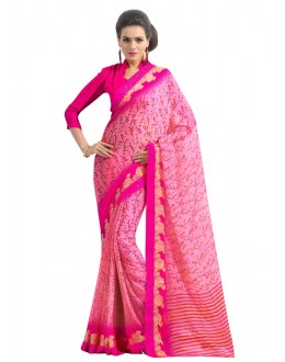 Casual Wear Pink Chiffon Saree  - RKAM6560