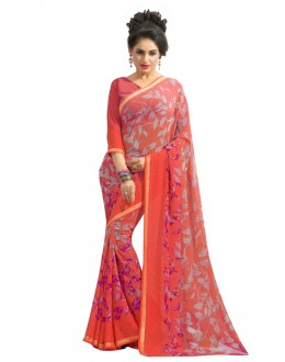 Casual Wear Orange Georgette Saree  - RKAM6562